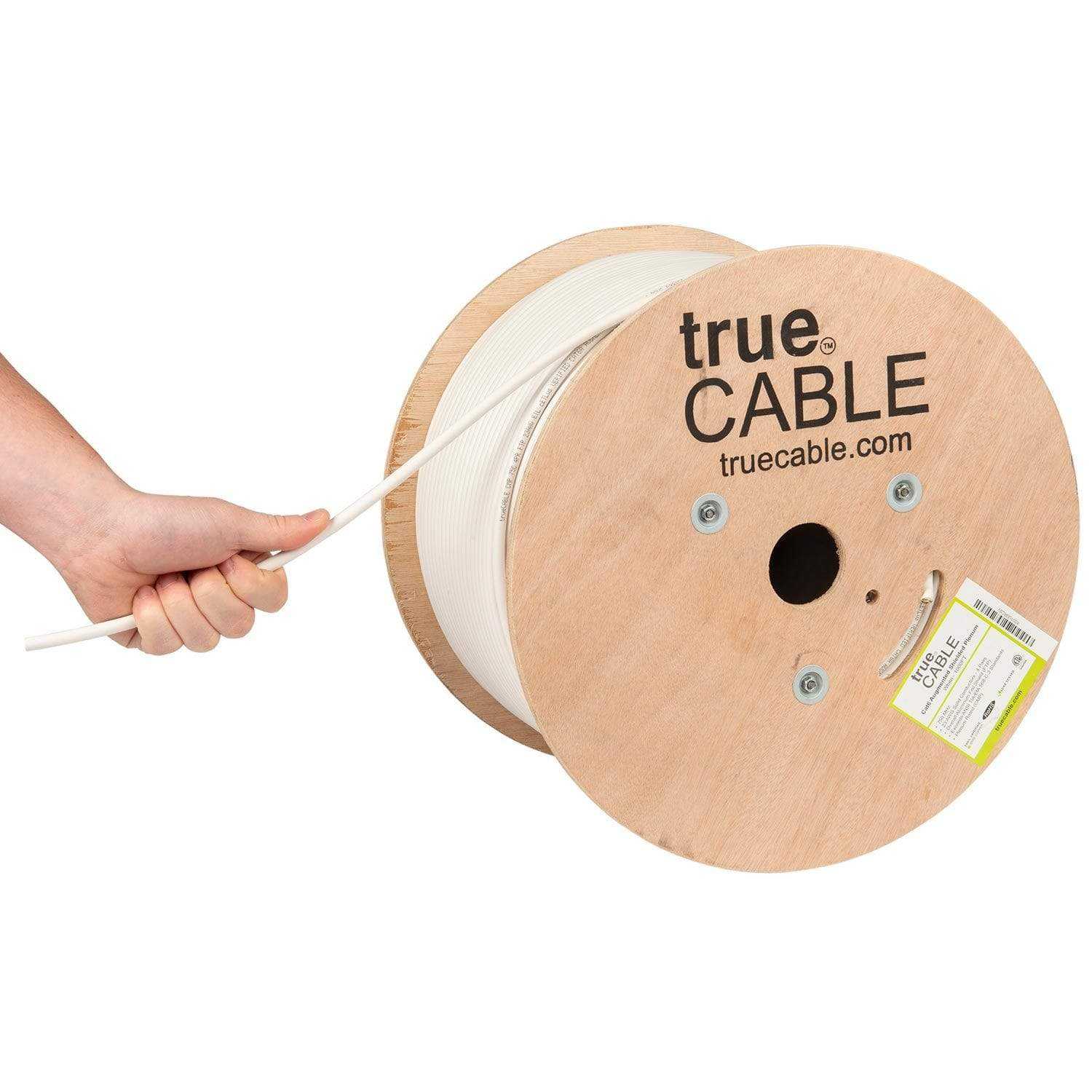 Cat6A Shielded Plenum Ethernet Cable White 1000ft trueCABLE Hand Pulling