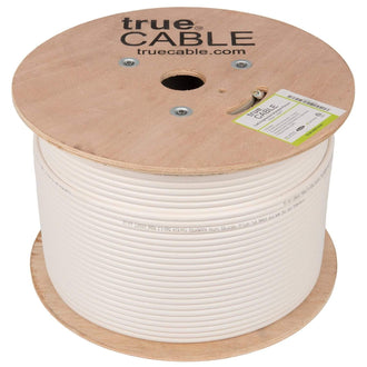 Cat6A Shielded Plenum Ethernet Cable White 1000ft trueCABLE Reel No Wrap