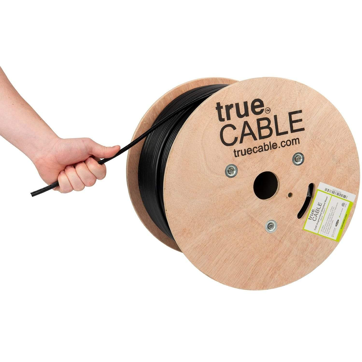 Cat6A Shielded Riser Ethernet Cable Black 1000ft trueCABLE Hand Pulling
