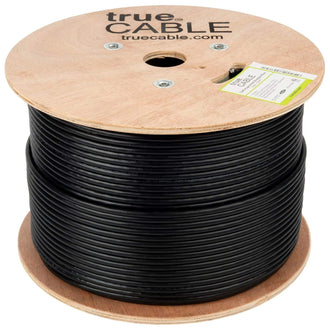 Cat6A Shielded Riser Ethernet Cable Black 1000ft trueCABLE Reel No Wrap