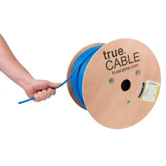 Cat6A Shielded Riser Ethernet Cable Blue 1000ft trueCABLE Hand Pulling