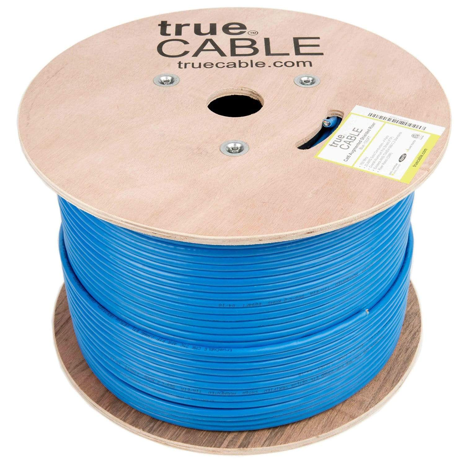 Cat6A Shielded Riser Ethernet Cable Blue 1000ft trueCABLE Reel No Wrap