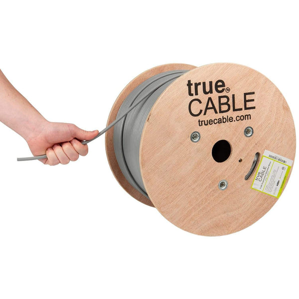 Cat6A Shielded Riser Ethernet Cable Gray 1000ft trueCABLE Hand Pulling