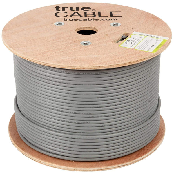Cat6A Shielded Riser Ethernet Cable Gray 1000ft trueCABLE Reel No Wrap