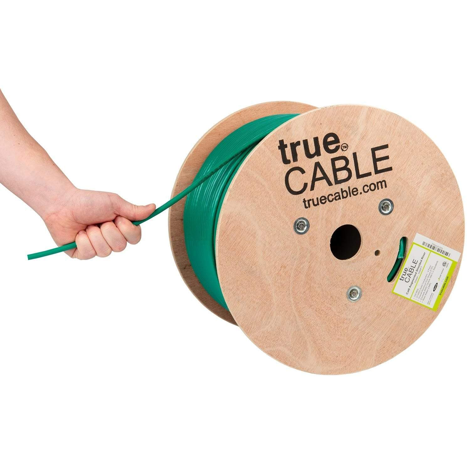 Cat6A Shielded Riser Ethernet Cable Green 1000ft trueCABLE Hand Pulling