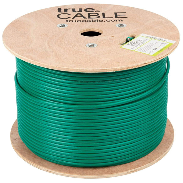 Cat6A Shielded Riser Ethernet Cable Green 1000ft trueCABLE Reel No Wrap