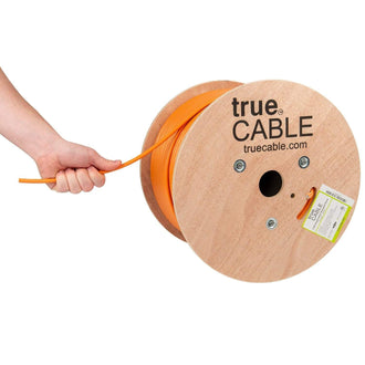 Cat6A Shielded Riser Ethernet Cable Orange 1000ft trueCABLE Hand Pulling