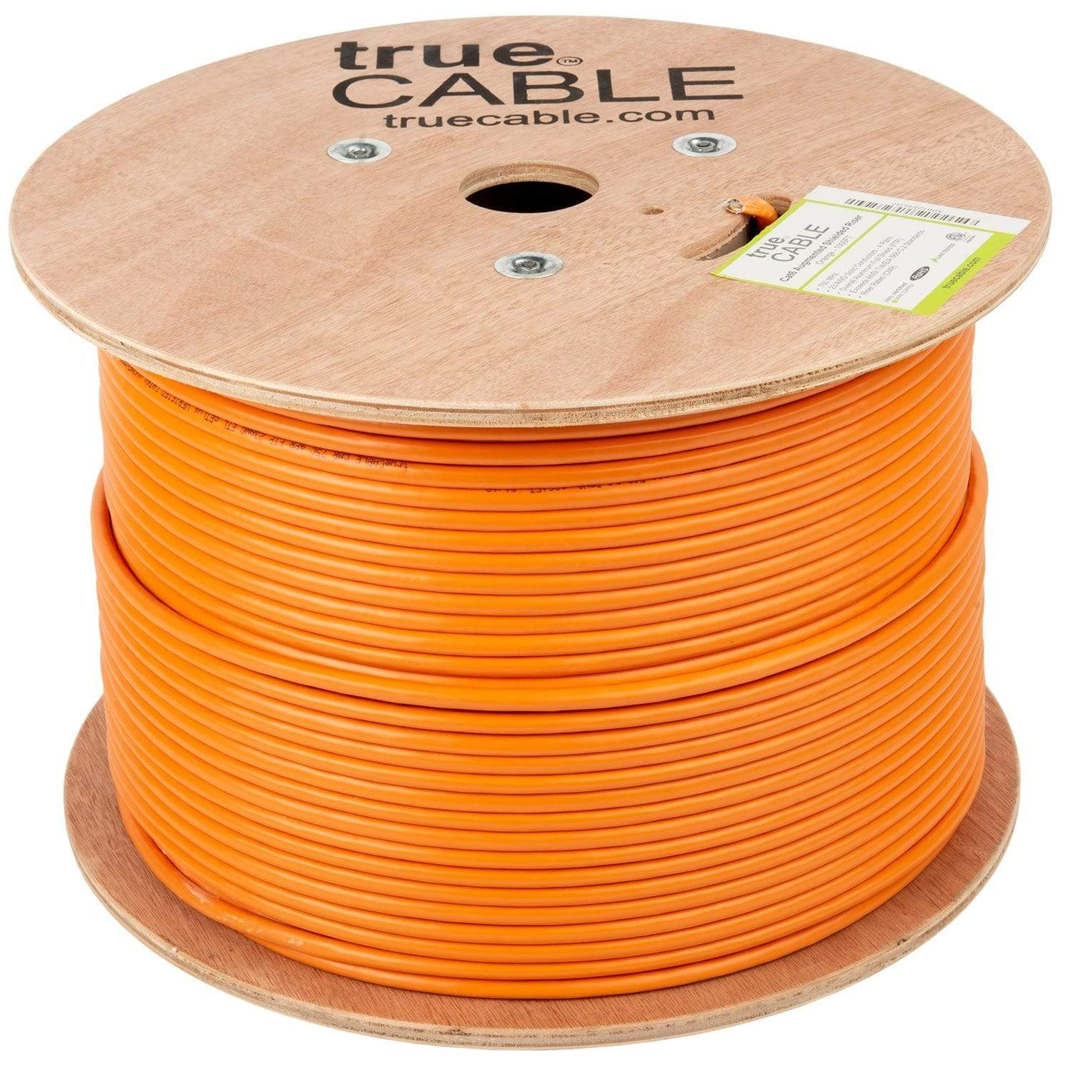 Cat6A Shielded Riser Ethernet Cable Orange 1000ft trueCABLE Reel No Wrap