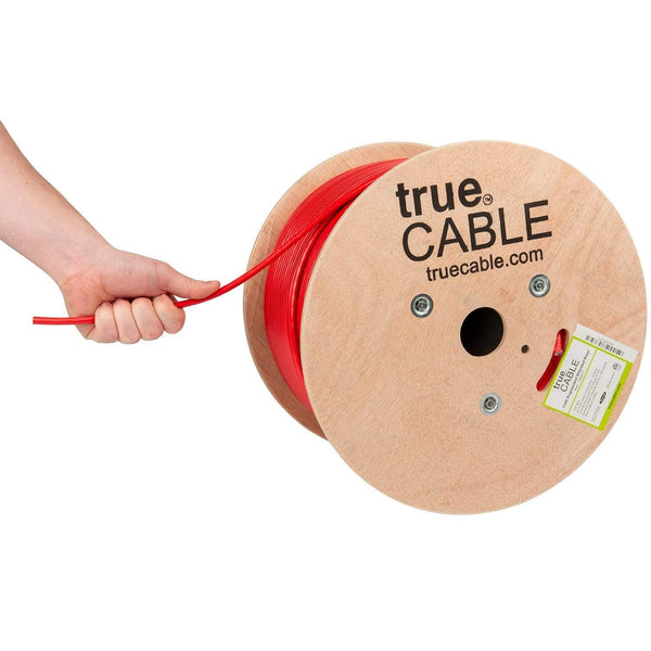 Cat6A Shielded Riser Ethernet Cable Red 1000ft trueCABLE Hand Pulling