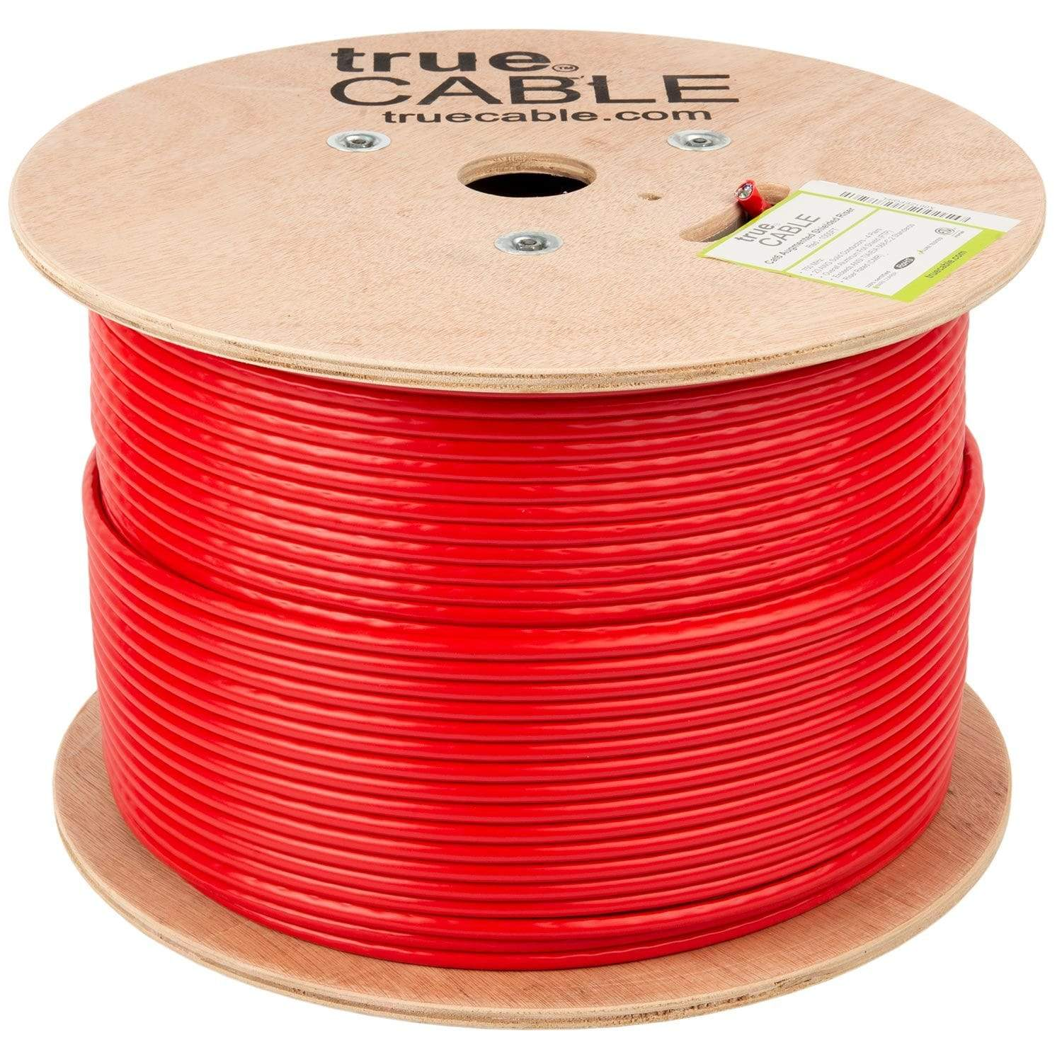 Cat6A Shielded Riser Ethernet Cable Red 1000ft trueCABLE Reel No Wrap