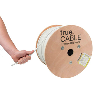 Cat6A Shielded Riser Ethernet Cable White 1000ft trueCABLE Hand Pulling