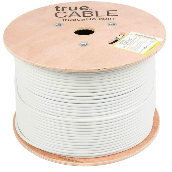 Cat6A Shielded Riser Ethernet Cable White 1000ft trueCABLE Reel No Wrap