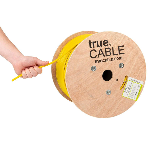 Cat6A Shielded Riser Ethernet Cable Yellow 1000ft trueCABLE Hand Pulling