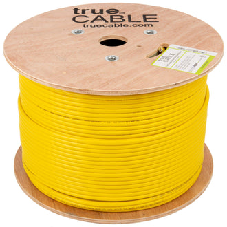 Cat6A Shielded Riser Ethernet Cable Yellow 1000ft trueCABLE Reel No Wrap