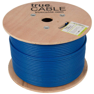 Cat6A Shielded Plenum Ethernet Cable Blue 1000ft trueCABLE Reel No Wrap
