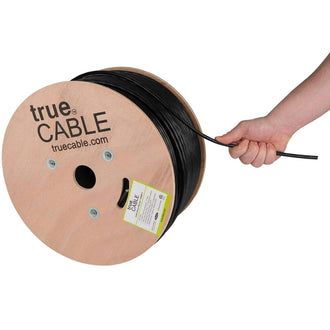 Outdoor Cat6 Cable Black 1000ft trueCABLE Hand Pulling