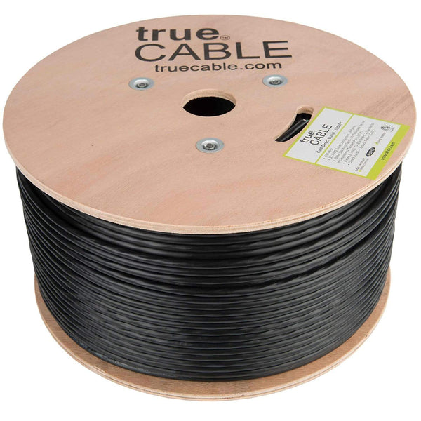 Outdoor Cat6 Cable Black 1000ft trueCABLE Reel No Wrap