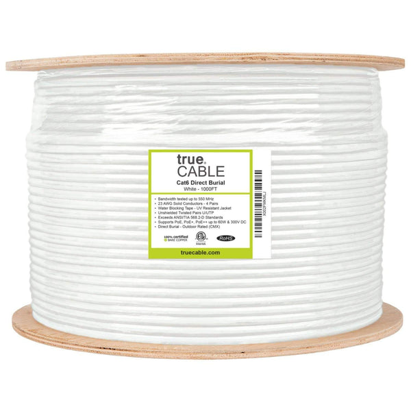 Outdoor Cat6 Cable White 1000ft trueCABLE Reel Label