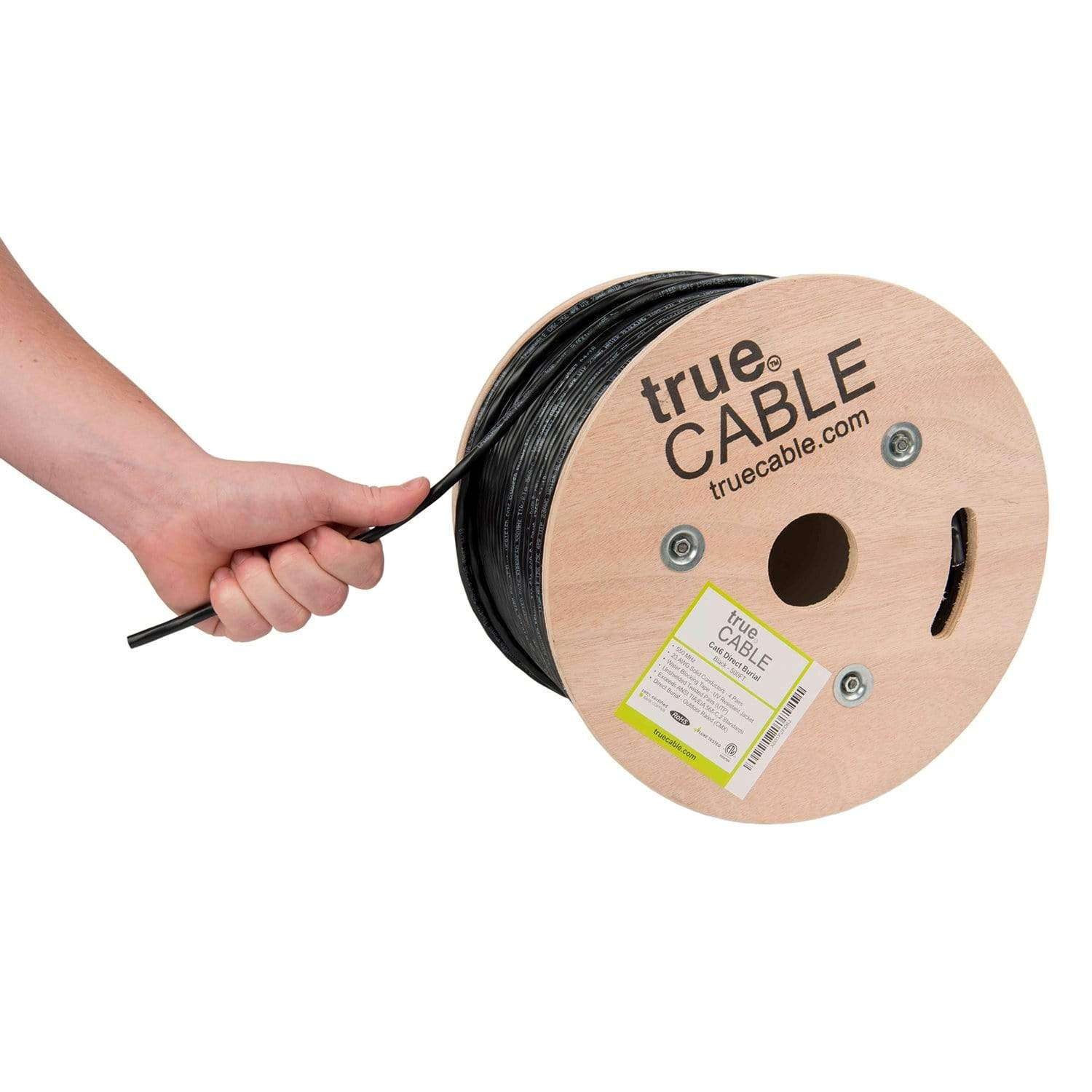 Cat6 Outdoor Ethernet Cable Black 500ft trueCABLE Hand Pulling