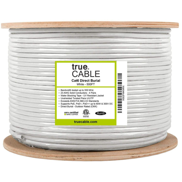 Outdoor Cat6 Cable White 500ft trueCABLE Reel Label