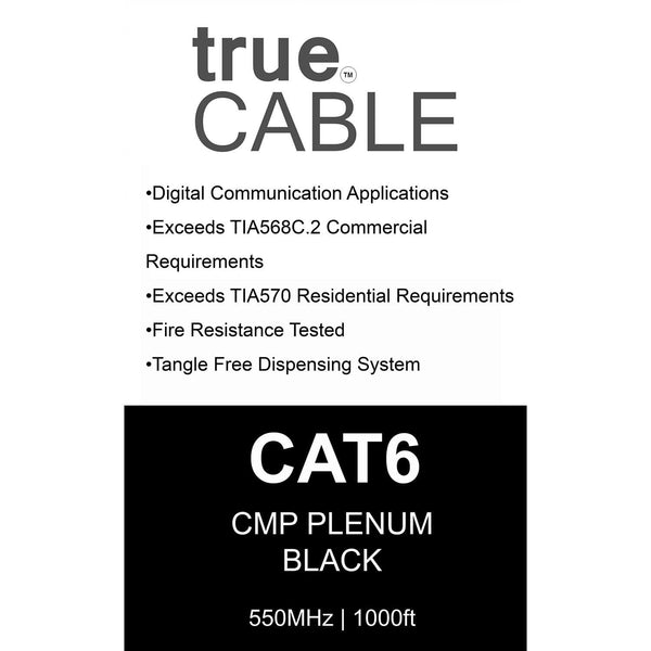 Cat6 Plenum Ethernet Cable Black 1000ft trueCABLE Box Back