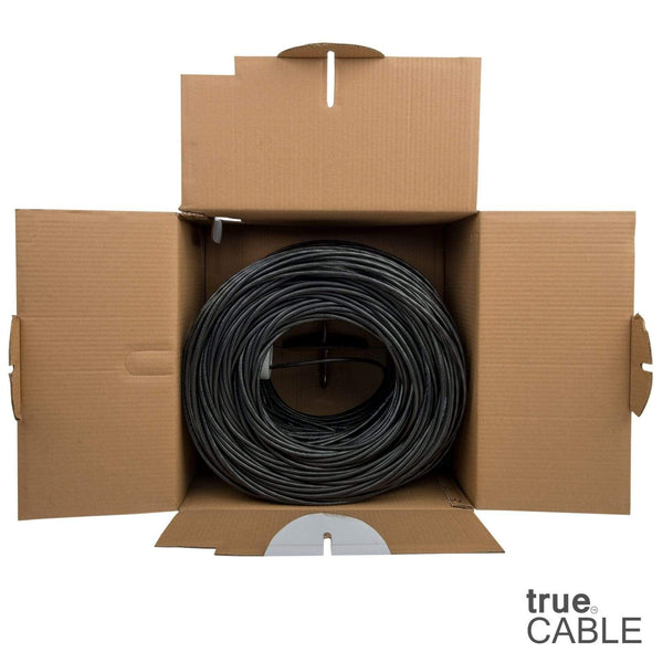 Cat6 Plenum Ethernet Cable Black 1000ft trueCABLE Open Box
