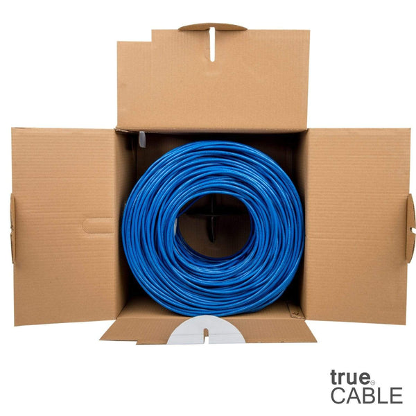 Cat6 Plenum Ethernet Cable Blue 1000ft trueCABLE Open Box