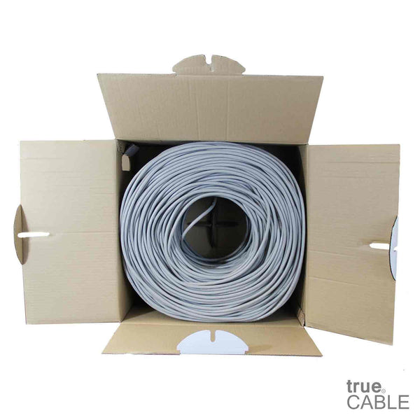 Cat6 Plenum Ethernet Cable Gray 1000ft trueCABLE Open Box