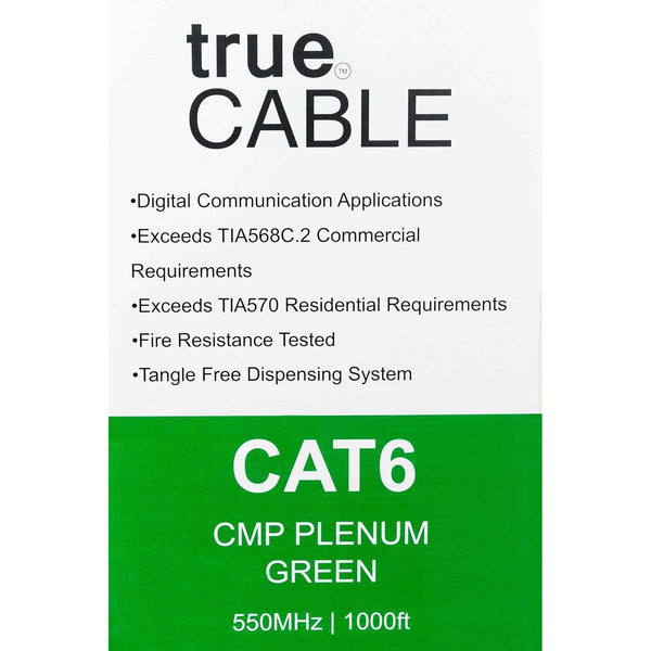 Cat6 Plenum Ethernet Cable Green 1000ft trueCABLE Box Back