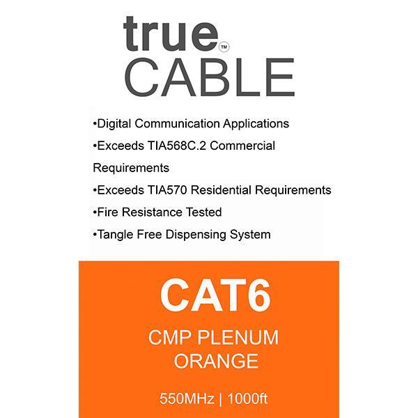 Cat6 Plenum Ethernet Cable Orange 1000ft trueCABLE Box Back