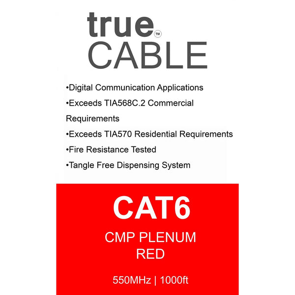 Cat6 Plenum Ethernet Cable Red 1000ft trueCABLE Box Back