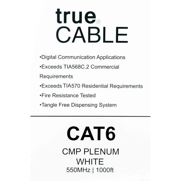 Cat6 Plenum Ethernet Cable White 1000ft trueCABLE Box Back
