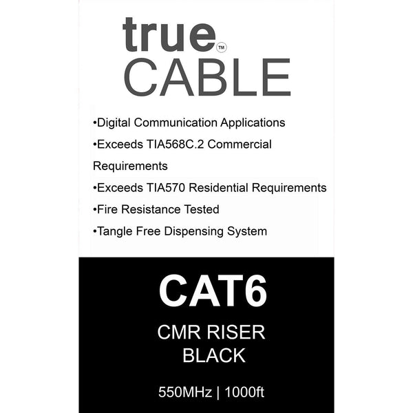 Cat6 Riser Ethernet Cable Black 1000ft trueCABLE Box Back