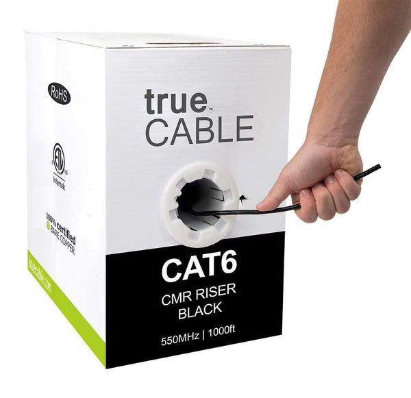 Cat6 Riser Ethernet Cable Black 1000ft trueCABLE Hand Pulling