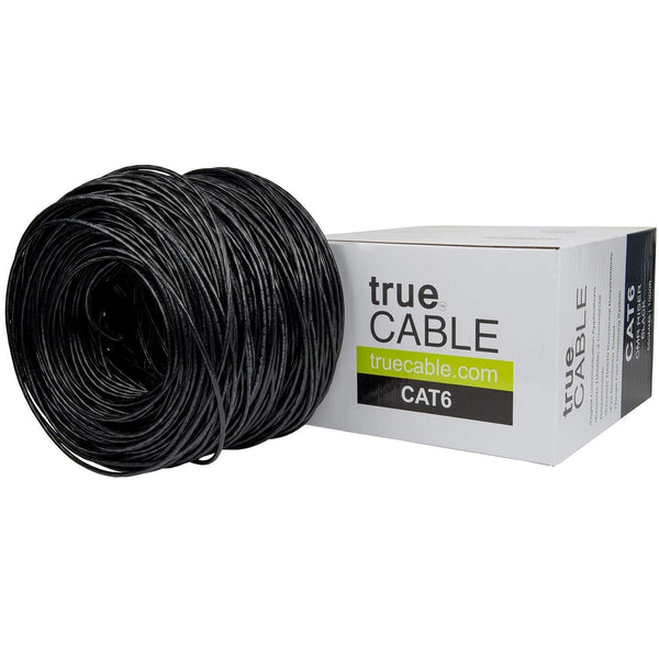 Cat6 Riser Ethernet Cable Black 1000ft trueCABLE Box Top