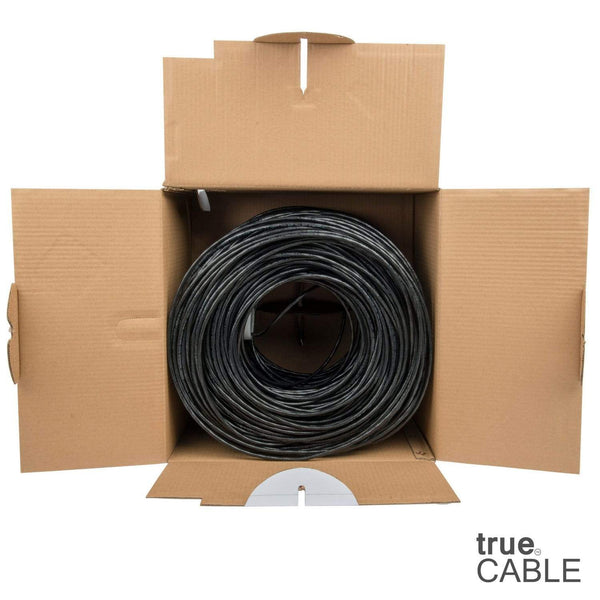 Cat6 Riser Ethernet Cable Black 1000ft trueCABLE Open Box