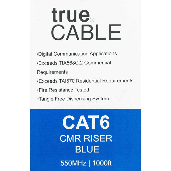 Cat6 Riser Ethernet Cable Blue 1000ft trueCABLE Box Back