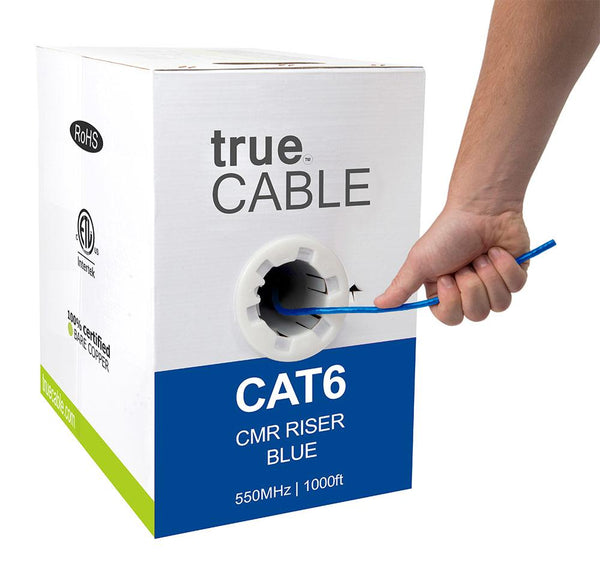 Cat6 Riser Ethernet Cable Blue 1000ft trueCABLE Hand Pulling
