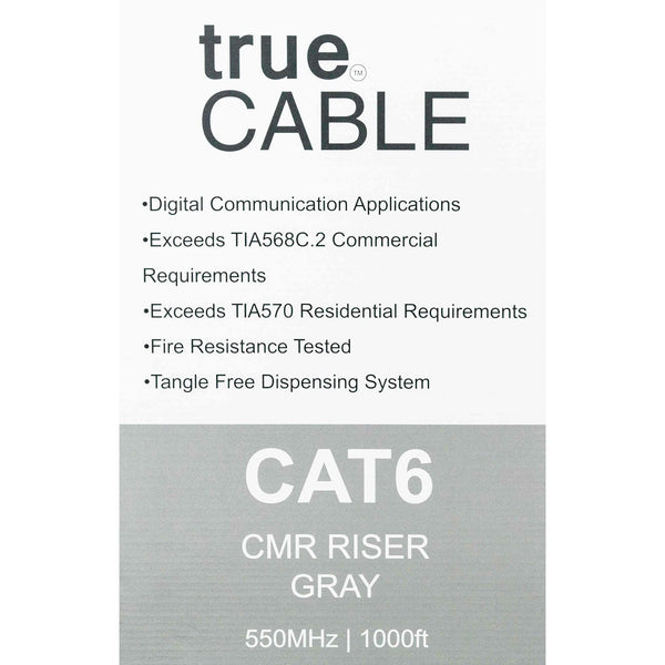 Cat6 Riser Ethernet Cable Gray 1000ft trueCABLE Box Back
