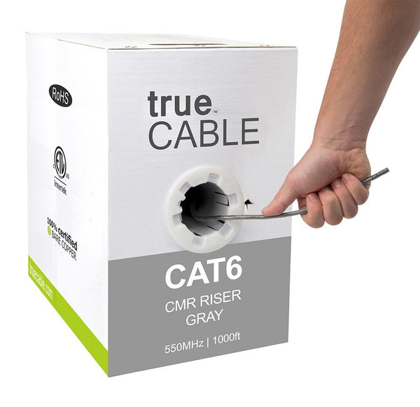 Cat6 Riser Ethernet Cable Gray 1000ft trueCABLE Hand Pulling