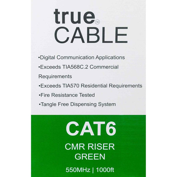 Cat6 Riser Ethernet Cable Green 1000ft trueCABLE Box Back