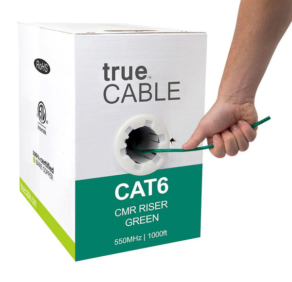 Cat6 Riser Ethernet Cable Green 1000ft trueCABLE Hand Pulling