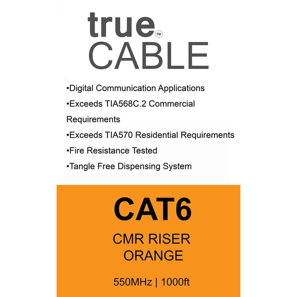Cat6 Riser Ethernet Cable Orange 1000ft trueCABLE Box Back