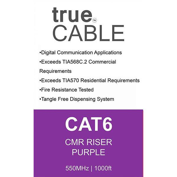 Cat6 Riser Ethernet Cable Purple 1000ft trueCABLE Box Back