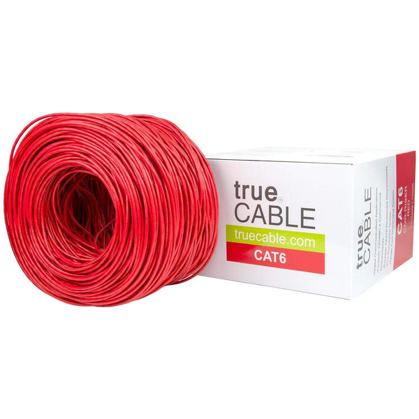 Cat6 Riser Ethernet Cable Red 1000ft trueCABLE Box Top
