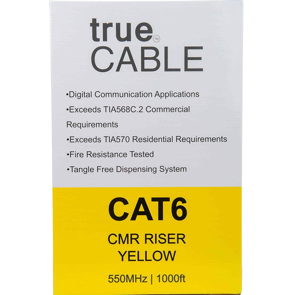 Cat6 Riser Ethernet Cable Yellow 1000ft trueCABLE Box Back