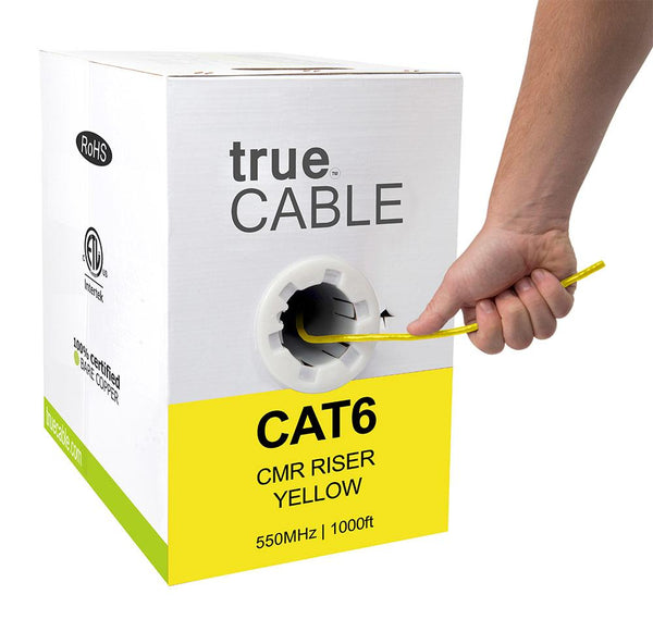 Cat6 Riser Ethernet Cable Yellow 1000ft trueCABLE Hand Pulling