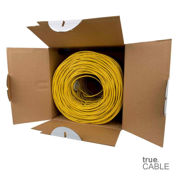 Cat6 Riser Ethernet Cable Yellow 1000ft trueCABLE Open Box