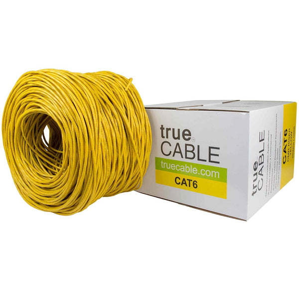 Cat6 Riser Ethernet Cable Yellow 1000ft trueCABLE Box Top