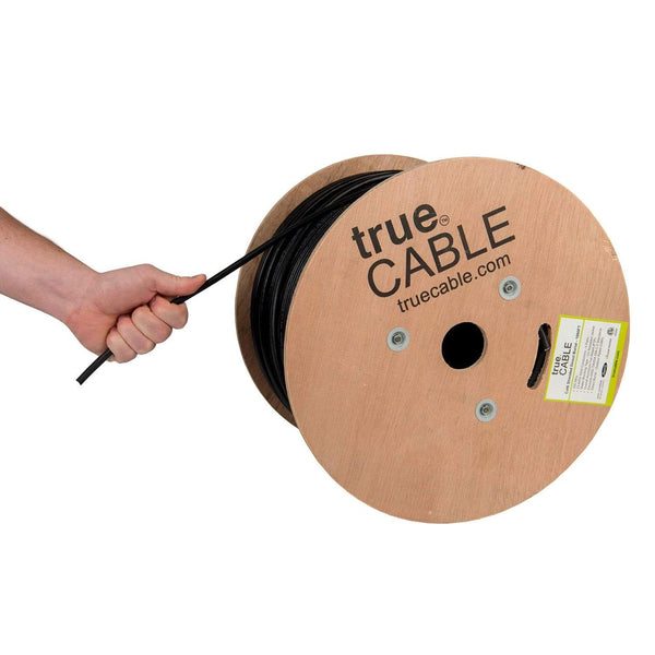 Cat6 Shielded Direct Burial Cable Black 1000ft trueCABLE Hand Pull